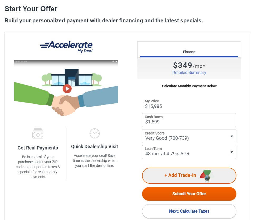 Screenshot of the Accelerate My Deal tool on Autotrader, which allows car shoppers to calculate monthly payments and start a car deal online