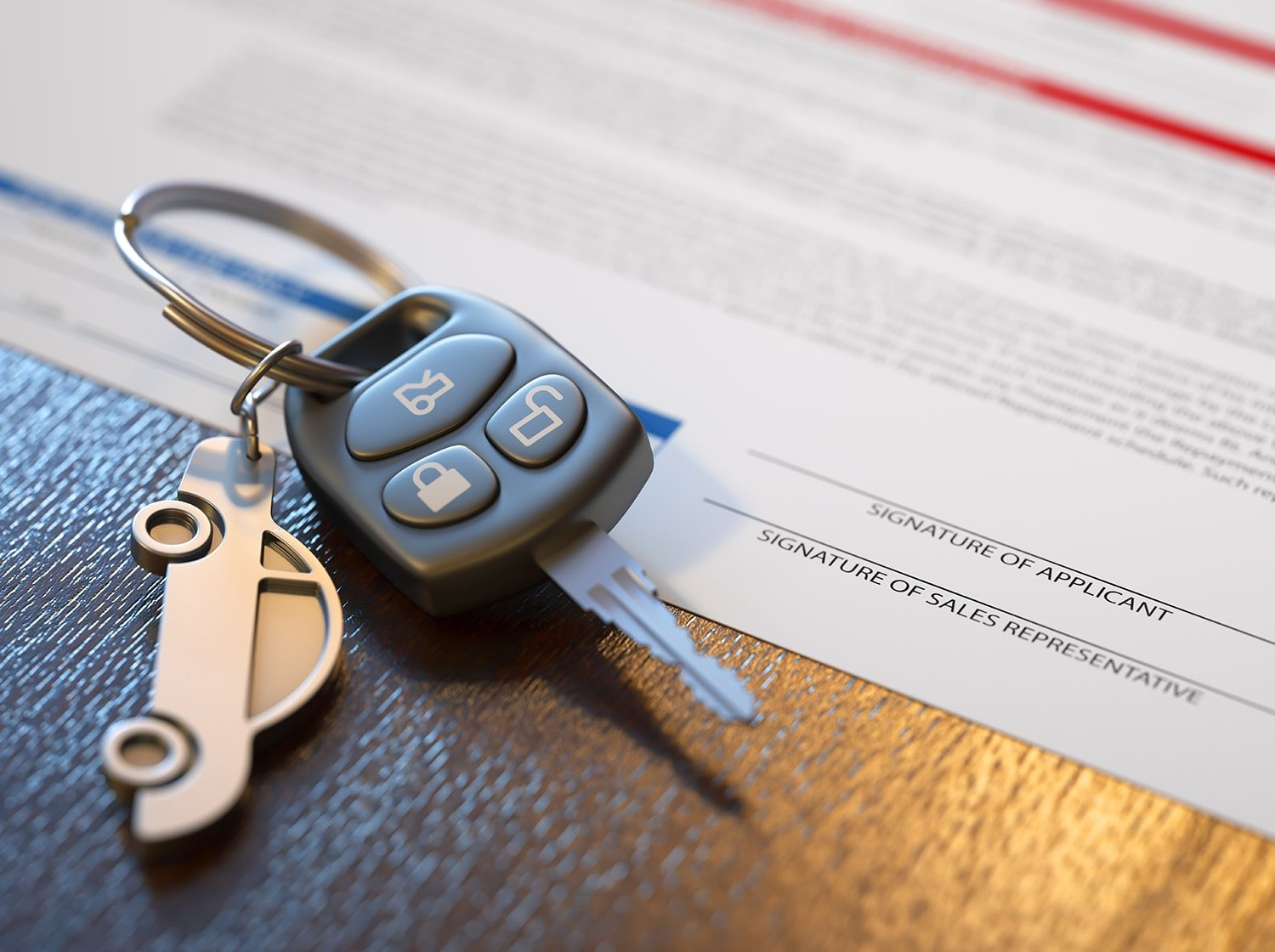 car key and signed sales contract