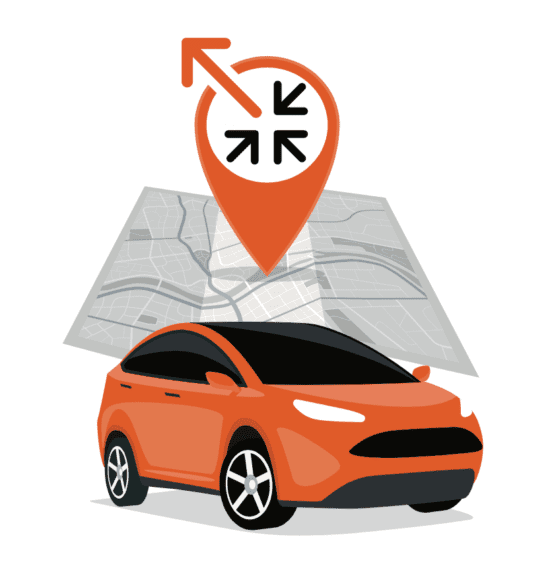 illustration showing a car and location arrow on a map