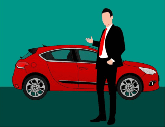 illustration of a dealership salesperson in front of a new car