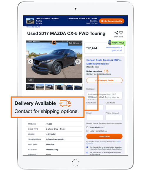 Autotrader VDP showing that vehicle delivery is available from this dealer