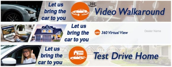 banners for dealerships to advertise video walkarounds and home test drives