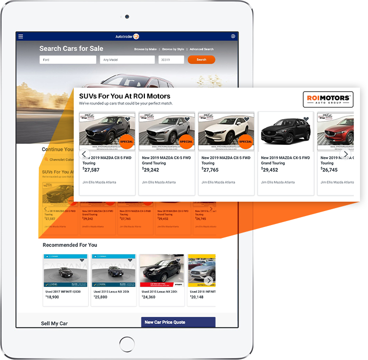 eLot display ad on Autotrader homepage