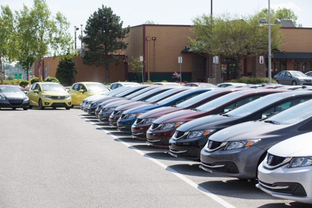 New vehicle inventory on a dealership lot