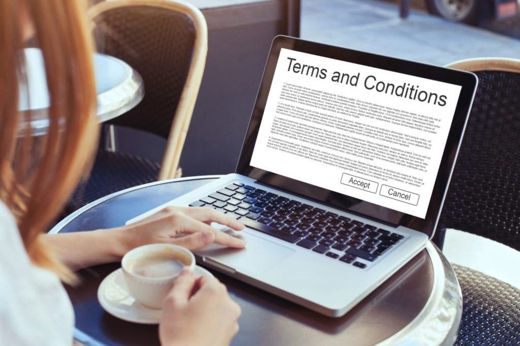 Consumer on laptop reading cookie terms and conditions page