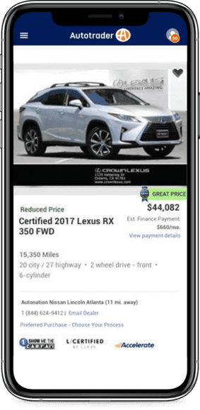 Autotrader vehicle details page shown on a mobile phone