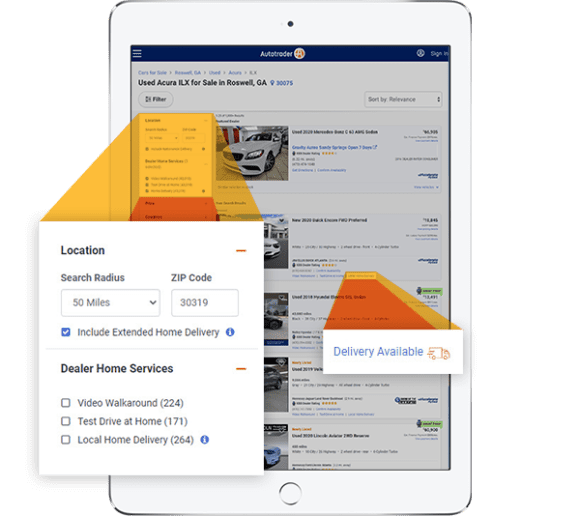 Autotrader search filters for vehicle home delivery