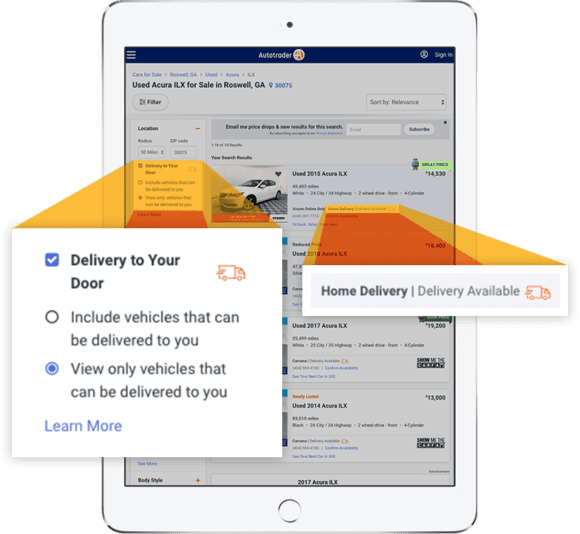 """search filter setting on Autotrader for """"delivery to your door"""" with Market Extension"""