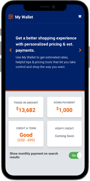 My Wallet personalized payment information shown on mobile as part of Accelerate My Deal digital retailing