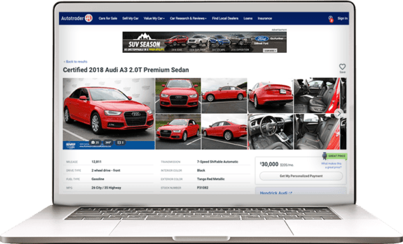 Auttotrader's new vehicle details page (VDP)