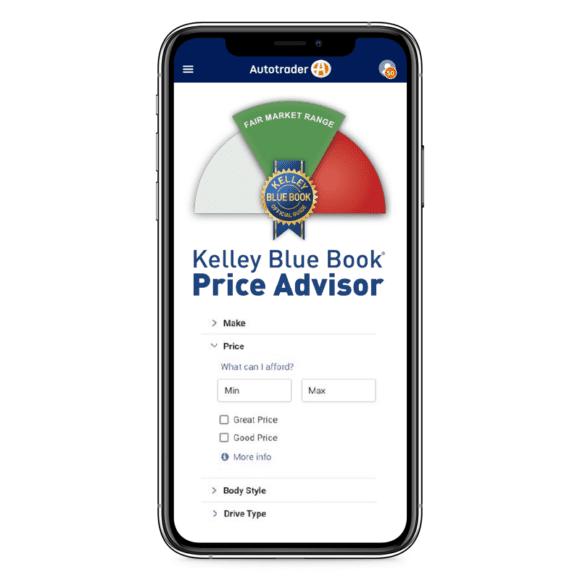 Kelley Blue Book Price Advisor on a mobile phone