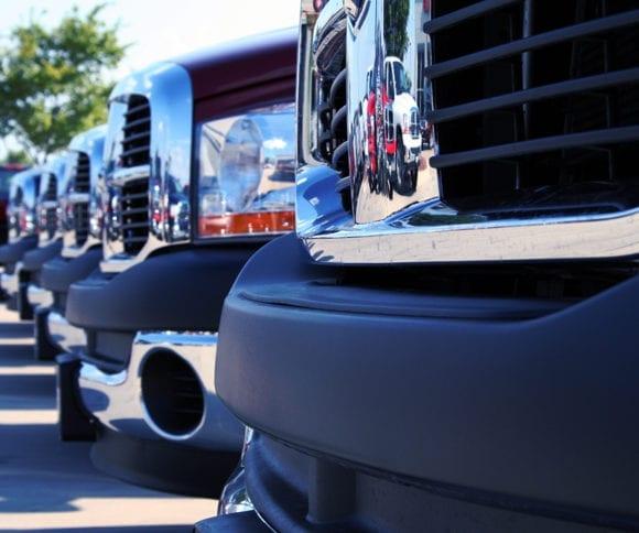 new trucks on a dealership lot
