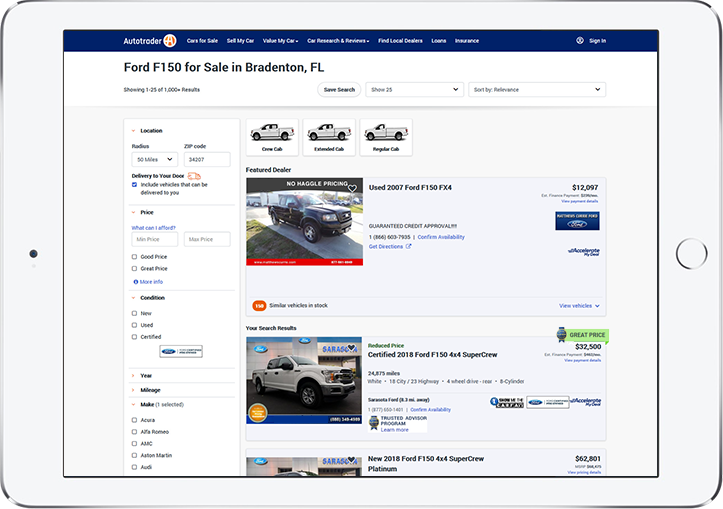 Autotrader search results page from a search for Ford F150 trucks