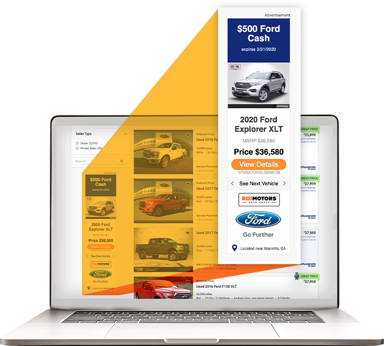 Skyscraper display ad shown on the left-hand side of the Autotrader search results page